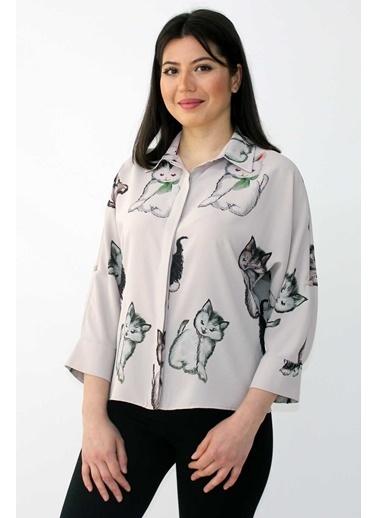 Clıche  Kedi Figürü Baskılı Gömlek Vizon